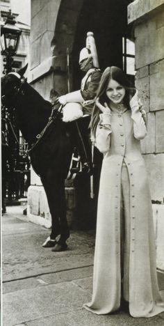 """Biba suit. """"A 1960s London photo shoot contrasts old & new Britain."""" - vintagevixen.com"""