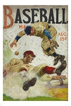 BASEBALL magazine cover poster AUGUST 1917 benton henderson clark 24X36 HOT