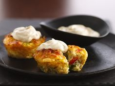 Impossibly Easy Crab Cake Pies with Bisquick, red & green peppers, onion, crabmeat, seafood seasoning and a lovely lemon aioli to top it off!
