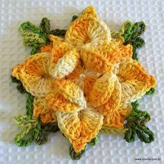 FLOR ESTRELA - Passo a passo Crochet Blocks, Crochet Squares, Crochet Granny, Crochet Motif, Crochet Stitches, Knit Crochet, Crochet Flower Tutorial, Crochet Flower Patterns, Yarn Crafts