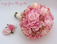 Bridal Bouquet Peonies Calla Lilies Hydrangea Pink Groom's Boutonniere