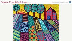 FOLK ART PRINT landscape tree art poster of Painting - Wedding Gifts