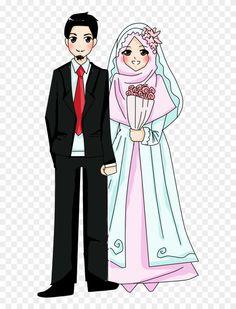 bride and groom + doodle Bride And Groom Cartoon, Wedding Couple Cartoon, Muslim Brides, Muslim Couples, Wedding Symbols, Muslimah Wedding, Wedding Invitation Video, Anime Wedding, Picsart Png