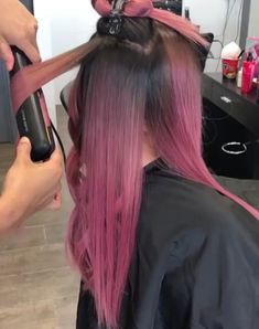25 Burgundy Hair Color ideas In 2019 Curling Iron Hairstyles, Curled Hairstyles, Cool Hairstyles, Underlights Hair, Wavy Hairstyles Tutorial, Hair Upstyles, Hair Color Purple, Brown And Pink Hair, Pink Ombre Hair