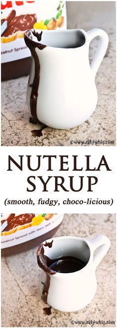 Nutella Syrup! The smoothest, fudgiest and most choco-licious syrup ever that goes well on anything..... pancakes, waffles, cakes and so much more! From cakewhiz.com