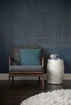 Gaile Guevara - indigo grasscloth wallpaper- I like this but I don't know if I could handle the blue for the whole room. maybe one accent wall. Decor, Interior Design, House Interior, Paint Colors For Living Room, Trending Decor, Interior, Grasscloth Wallpaper, Interior Styling, Home Decor