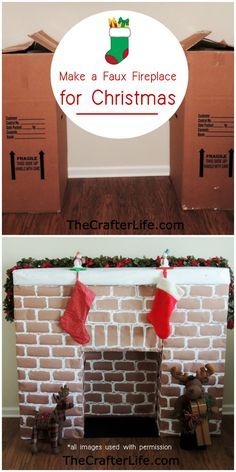 Awesome Christmas decoration DIY idea - make your own fireplace from cardboard for Santa to come down for Christmas. This is so cool and just made with appliance boxes. It's such a great idea and I love how it is decorated with stocking and decor just like a real fireplace. Perfect for the Christmas decorating season. Would you make a faux, fake fireplace for Christmas?