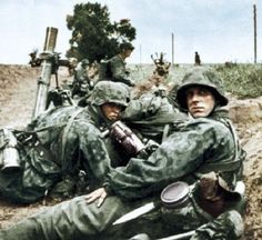 Waffen SS Mortar Team - Taken during Operation Citadel, the Battle of Kursk - July 1943.