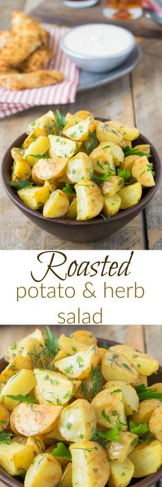 Roasted potato and herb salad is taken to the next level by roasting the potatoes before bathing them in a delicious Dijon dressing and fresh herbs taking it from a really good potato salad to a really great potato salad.