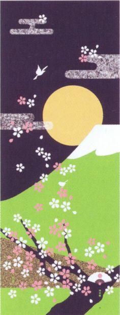Japanese washcloth, Tenugui 絵てぬぐい 春 春JAPAN.jpg
