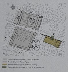 Location of the Hadrianic Pantheon, a three-aisled basilica near the Library of Hadrian and the Roman Agora, Athens, Greece