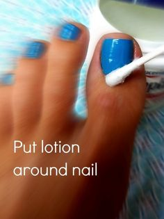Apply lotion around nail, paint nails, use a q-tip to remove nail polish out of place! The polish wont stick to the areas where lotion is!