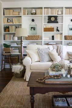 blogger living room with open shelves