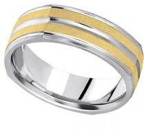 #Allurez                  #Gold Wedding Bands       #Square #Wedding #Band #Carved #Ring #Two-Tone #Gold #(7mm)                   Square Wedding Band Carved Ring in 18k Two-Tone Gold (7mm)                                              http://www.seapai.com/product.aspx?PID=5761151