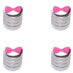 Decorative Bicycle Valve Capss - 4 Count Cool and Custom Diamond Etching Pink Bow Top with Easy Grip Texture Tire Wheel Rim Air Valve Stem Dust Cap Seal Made of Genuine Anodized Aluminum Metal Shimmering Jeep Silver and White Colors  Hard Metal Internal Threads for Easy Application  Rust Proof  Fits For Most Cars Trucks SUV RV ATV UTV Motorcycle Bicycles *** Want additional info? Click on the image.