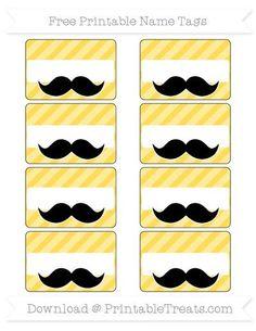 Mustard Yellow Diagonal Striped Mustache Name Tags