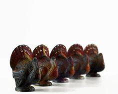 Vintage Turkey Candles, Gurley, Thanksgiving Decoration, Wax Turkey, Tom Turkey, Set of Five