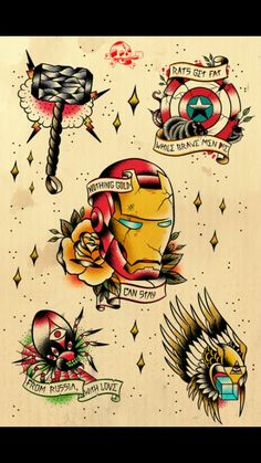 Traditional Avengers tattoos