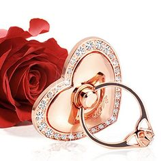 Cell Phone Ring Holdervoocase Anti Drop Ring Grip Heart Shaped Universal Phone Ring Stand with Car Mount Base ipad holder for iphone Samsung TabletsSmartphones 50 Pcslot Rose Gold >>> For more information, visit image affiliate link Amazon.com