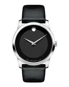40mm Museum Classic Watch with Leather Strap, Black by Movado at Neiman Marcus.