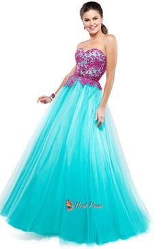 NextProm.com Offers High Quality Aqua Blue Prom Dresses With Hot Pink Lace Top,Hot Pink And Blue Prom Dresses,Priced At Only USD USD $145.00 (Free Shipping)