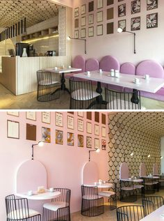to the side of the service area of this modern patisserie is a seating area with pink bench seating with u-shaped backrests.Off to the side of the service area of this modern patisserie is a seating area with pink bench seating with u-shaped backrests. Coffee Shop Interior Design, Coffee Shop Design, Restaurant Interior Design, Cafe Design, Design Shop, Modern Interior Design, Design Design, Bakery Design, Menu Design
