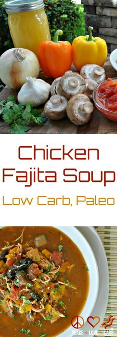 Low Carb Slow Cooker Chicken Fajita Soup - All the flavors of sizzling fajitas, but it a warm and comforting soup. Easy to make and super flavorful.