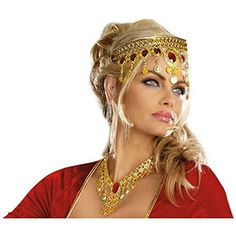 GSG Queen Costume This headpiece would make the perfect accessory to any Womens Egyptian Halloween Costumes.  Headpiece Jewelry Goddess Renaissance Medieval Arabian Dress