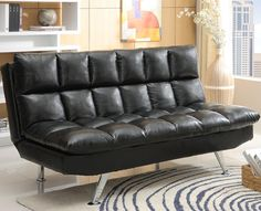 Sundown Adjule Sofa 299 00 Shown In Black Faux Leather Back Raised 71 5