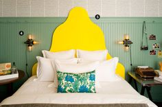 Hotel Triton in San Francisco. My absolute favorite hotel in this city. Interior Design Inspiration, Decor Interior Design, Yellow Headboard, Green Bedroom Decor, Bedroom Ceiling, Interiores Design, Restaurant, Decoration, Bedroom Designs
