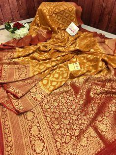 Red Saree Wedding, Golden Yellow Color, Saree Shopping, Kinds Of Fabric, Buy Sarees Online, Wedding Fabric, Banarasi Sarees, Designer Sarees, Saris