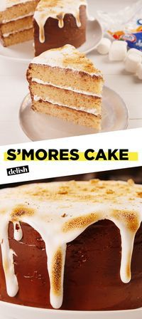 This Smores Layer Cake Is Perfect For Any Summer Birthday Get The Recipe At Delish Baking Birthdaycake Marshmallow