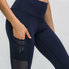 Mesh Naked-feel Fabric High Waisted Leggings Workout Leggings With Pockets, Yoga Pants, Naked, Black Jeans, Tights, Athletic, Fabric, How To Wear, Workouts