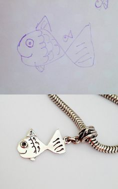 Children grow up so fast, but here is a way you can freeze a little moment in time. Send me your childs drawing and I will convert it into a lasting memento, one you can wear always.  This is a sterling silver handmade pendant charm for a charm bracelet but can also be used on a chain as a pendant. Handmade by me, using traditional methods, right here in my studio in the rural french countryside. SPECIFICATIONS: Each piece is uniquely created by hand, pierced from no less than 1mm Sterling…