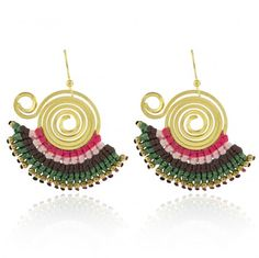 Festival Earrings - Pink Green