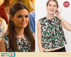 Zoe's green tropical print top on Hart of Dixie.  Outfit Details: http://wornontv.net/32659/ #HartofDixie