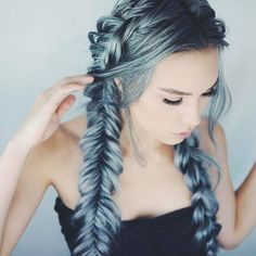 Cool Summer On Trend Hair Inspiration Hair Goals Bright Sky Blue Green Metallic Fishtail Braids Hair Style
