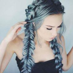 Cool Summer On Trend Hair Inspiration Hair Goals Bright Sky Blue Green Metallic Fishtail Braids Hair Style