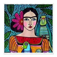Frida Kahlo Shower Curtains - Colorful Mexican Folk Art by Heather Galler Shower Curtain for Adult Bathroom