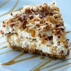 Coconut caramel Drizzle Pie - This is a delicious pie that people just love on a hot summer day. Great for Sunday dessert if prepared Saturday night. Best pie I have EVER made. S a & health tips health naturally eating food 13 Desserts, Brownie Desserts, Frozen Desserts, Pie Recipes, Sweet Recipes, Dessert Recipes, Recipes Dinner, Cooking Recipes, Cooking Tips