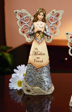 My Mother, My Friend Beautiful Angel Figurine for Mom Gift Mom an Angel to Watch Over Her Always Christmas Mom, Christmas Angels, Christmas Crafts, Clay Crafts, Diy And Crafts, Sentimental Gifts For Mom, Clay Angel, Angels In Heaven, Heavenly Angels