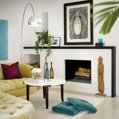 white /black fireplace- tv above      Living Room Fireplace Mantel With Tv Design, Pictures, Remodel, Decor and Ideas - page 11