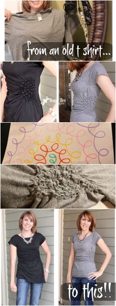 Side Gathered Shirt - Tutorial - men's shirt refashion ~ Sugar Bee Crafts...includes links to tips about elastic thread