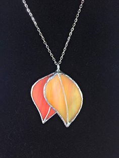 This item is unavailable Handmade Jewelry, Unique Jewelry, Handmade Gifts, Stained Glass Flowers, Fall Jewelry, Leaf Pendant, Glass Necklace, Autumn Leaves, Gifts For Mom