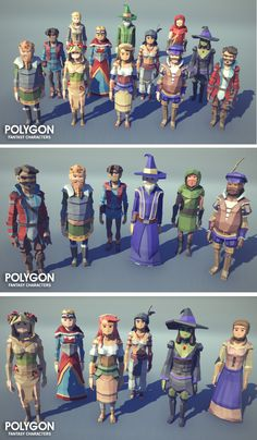 A low poly asset pack of characters and prop assets to create a fantasy based polygonal style game. 12 Unique characters with x5 alternative Colour and 3 skin tone variations - Male Baird - Male King - Male Peasant - Male Rouge - Male Sorcerer - Male Wizard - Female Druid - Female Gypsy - Female Peasant 01 - Female Peasant 02 - Female Queen - Female Witch 15 Unique props
