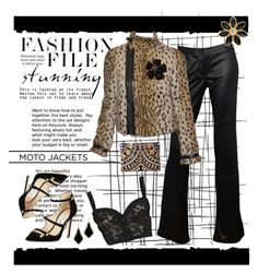 """""""Faux Leopard Moto"""" by jjanewatson ❤ liked on Polyvore featuring Tim Holtz, Yves Saint Laurent, Kendra Scott, Jimmy Choo, Issey Miyake, Dolce&Gabbana and Boohoo"""