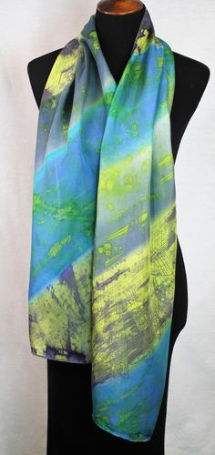 Silk Scarf. Hand Painted Batik. Silk Scarf. Blue, Green. Rustic. Size 14x70. Birthday, Bridesmaid, Mother's Day, gift.