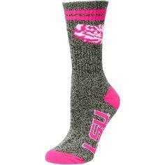 LSU Tigers Women's Marble Medium 504 Socks - Gray/Pink