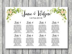 peonies wedding seating chart printable instant download free wedding seating charts find your