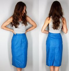 Vintage 80s Blue Leather Skirt HIGH WAIST by EleanorsAntiquities